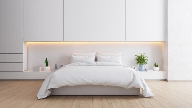 화이트 침실 인테리어, 아늑한 공간, 현대적인 디자인, 3d 렌더링