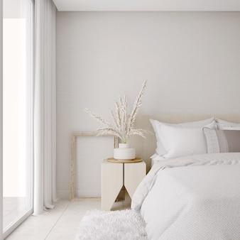 깨끗한 시트가있는 흰색 침실 인테리어 디자인