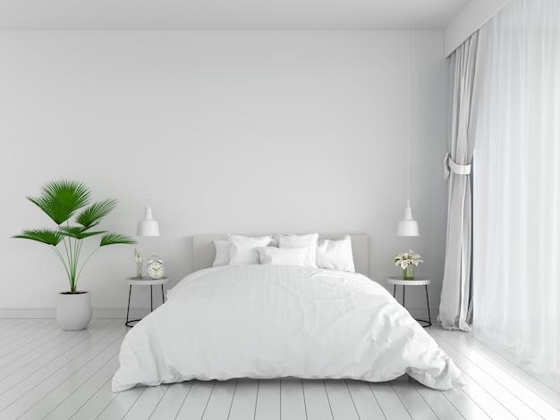Белый интерьер спальни для макета, 3d-рендеринга