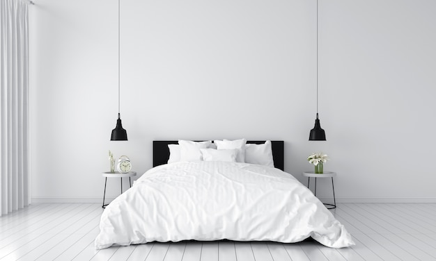 White bedroom interior for mockup