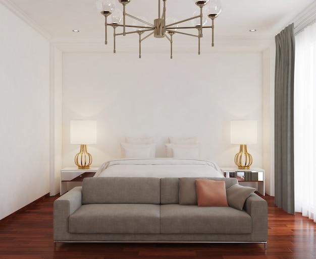 Белая спальня с диваном