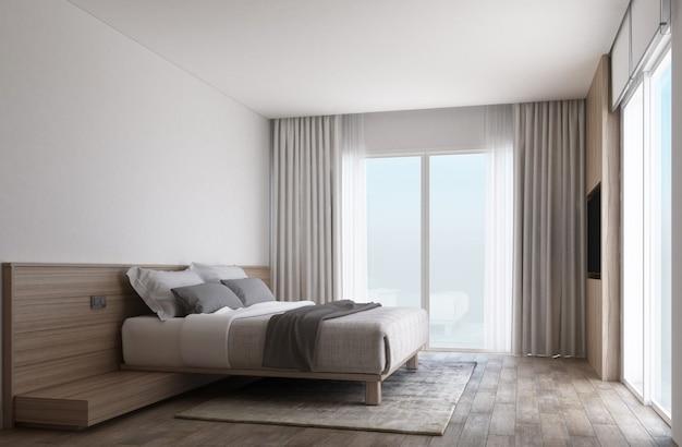 나무 바닥과 커튼이있는 슬라이드 도어가있는 흰색 침실