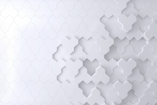 White  bee hive shape 3d wall for background, backdrop or wallpaper