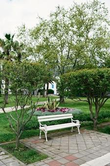 푸른 나무와 꽃 침대 근처 공원에서 화이트 벤치