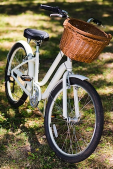 White bicycle on forest ground