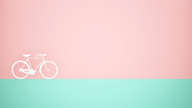 White bicycle on green floor and pink wall background