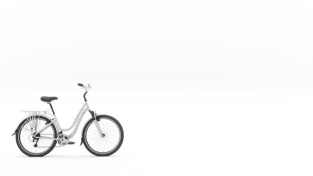 Белый велосипед в левом нижнем углу кадра, 3d иллюстрация