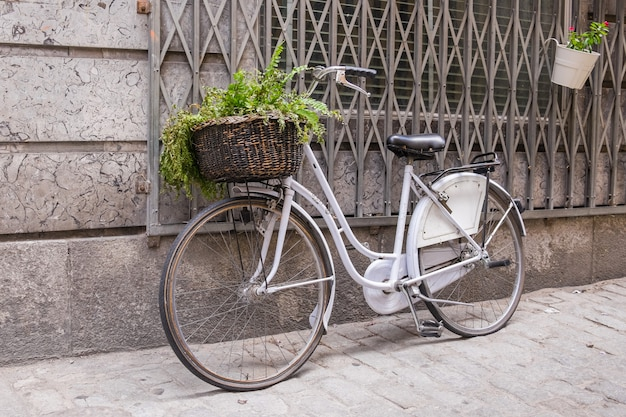White bicycle with wicker basket