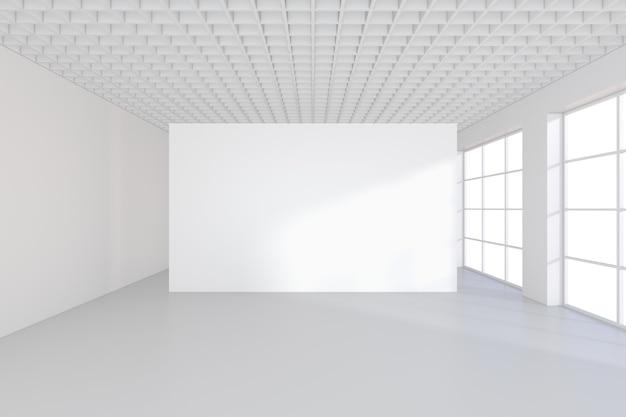 Белый рекламный щит в пустом офисе с большими окнами 3d-рендеринга