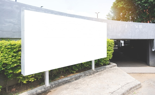 White billboard or white promotion poster displayed.