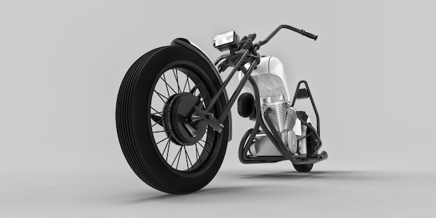 White and black classic custom motorbike