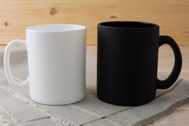 White and black coffee mug