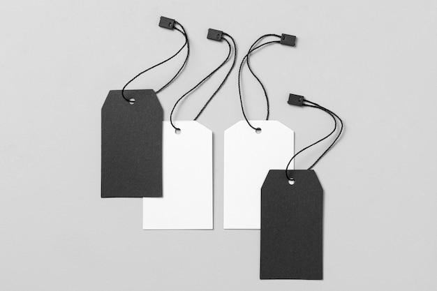 White and black labels arrangement