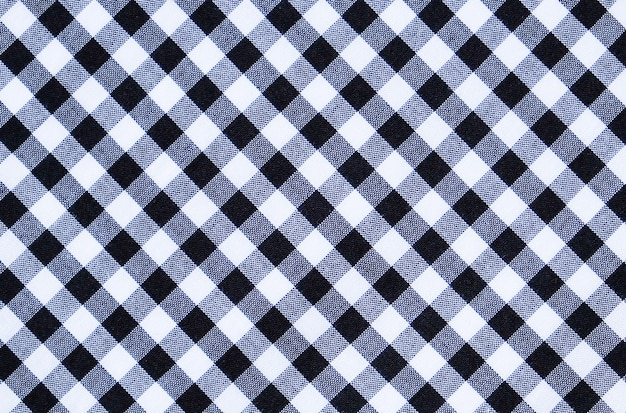 White and black plaid pattern cotton fabric texture