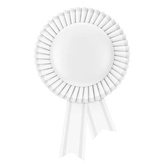 White blank award ribbon rosette on a white background. 3d rendering.