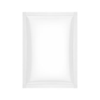 Пакет белый пустой мешок в макете стиля глины на белом фоне. 3d рендеринг