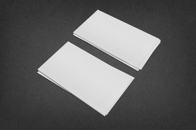 White blank business card template, white business card on black background