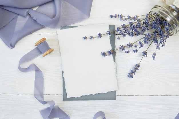 White blank card with lavender flowers