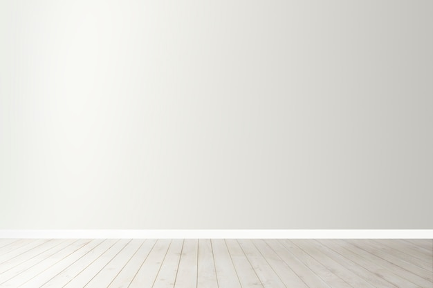 White blank concrete wall mockup with a wooden floor