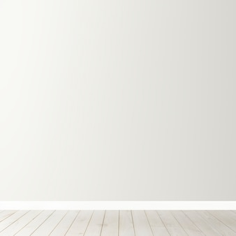 Mockup di muro di cemento bianco bianco con pavimento in legno