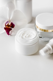 White blank cosmetic bottles, container or cream jar, serum and other cosmetic products