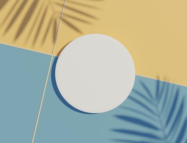 Белая пустая рамка цилиндра с пастелью и сценой тени пальмовых листьев.