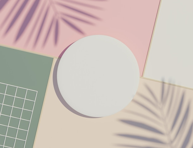 パステルとヤシの葉を持つ白い空白の円柱フレームは、影のシーンを残します。