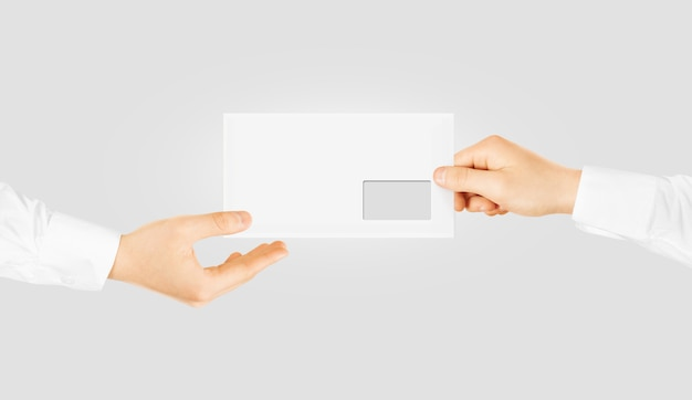 White blank envelope giving hand