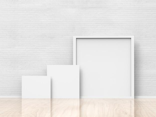 白い壁の背景に白い空白のフレーム