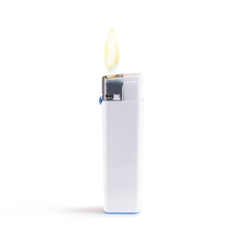 White blank lighter on fire mock up stand isolated