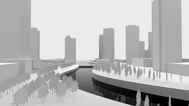 물에 의해 지어진 도시의 흰색 빈 모델