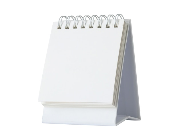 White blank paper desk calendar mockup isolated on white background with clipping path