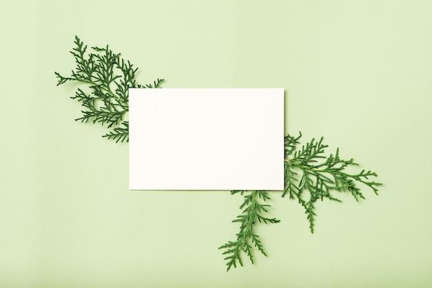 ジュニパーの装飾が施された白い白紙のメモまたはカード。