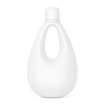 흰색 바탕에 표백제, 액체 세탁 세제 또는 섬유 유연제용 흰색 빈 플라스틱 병. 3d 렌더링.