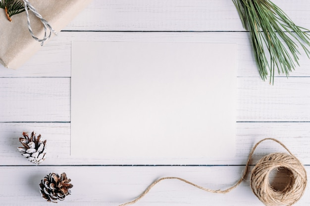 White blank sheet with a christmas composition. flat lay, top view, copy space