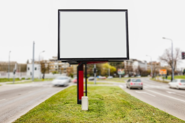 White blank space for advertisement at road intersection