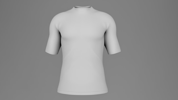 White blank t-shirt mockup, 3d rendering, front view