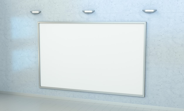 White blanks canvas on a wall 3d rendering