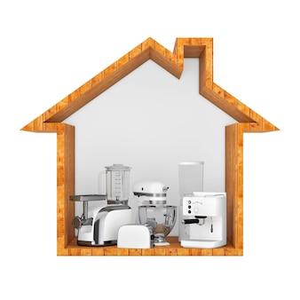 木造住宅の白いブレンダー、トースター、コーヒーマシン、ミートジンダー、フードミキサー、コーヒーグラインダーの白い背景の輪郭。 3dレンダリング