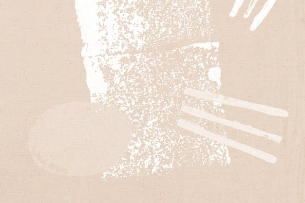 White block print on beige background