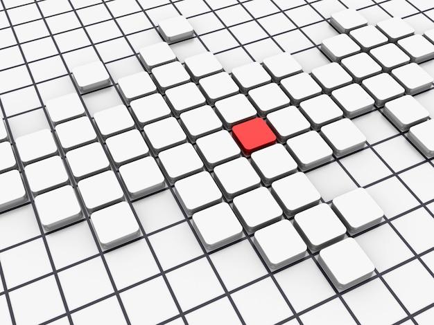 ホワイトブロックパターン1赤