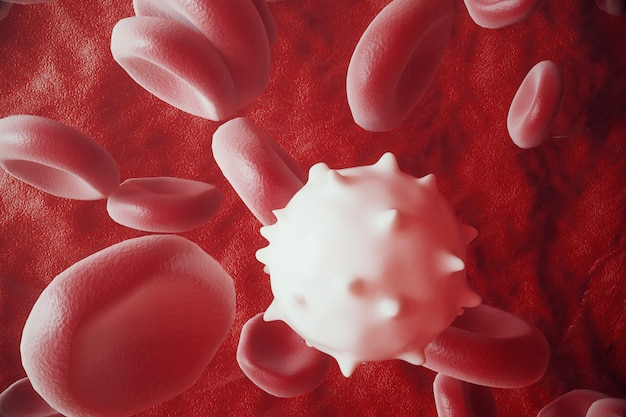 White blood cell between red blood cells, flow insice artery or vein, 3d rendering