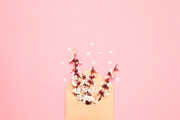 분홍색 배경에 봉투에 흰 꽃이 만발한 지점