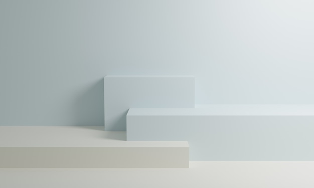 White and blue 3d rendering podium on background wall
