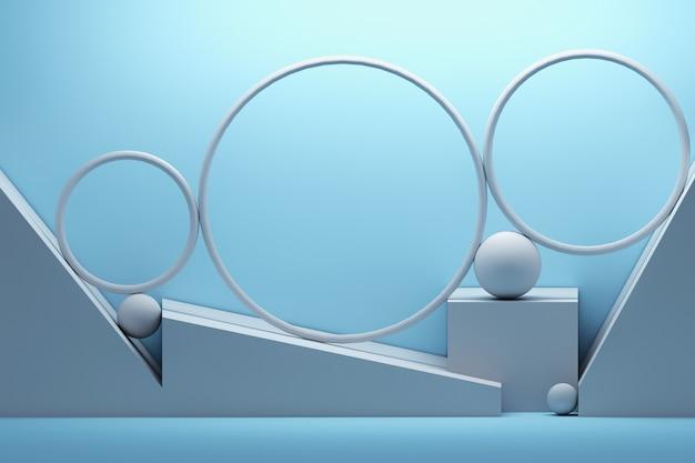 Белая голубая композиция с кругами и сферами