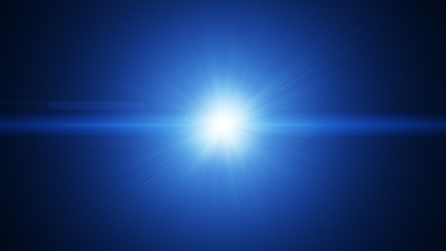 White blue flare light beam explosion effect abstract background.