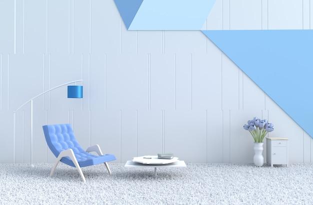 白青いリビングルーム、青いアームチェア、ソファ、カーペット、チューリップ。クリスマスの日、新年。 3dレンダリング