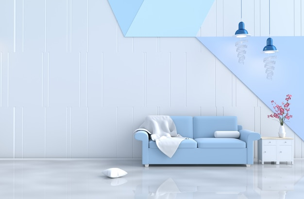 White-blue living room decor sofa, wall, orchid.