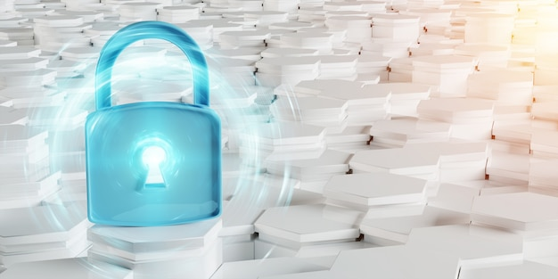 White and blue padlock icon on hexagons background