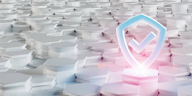 White blue pink shield icon on hexagons 3d rendering